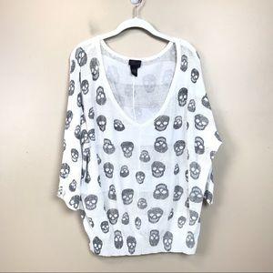 Torrid skull print V-neck sweater 2